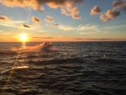 Sodus Point sunset with boat