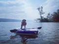 Dog days of summer - Ernie Davis cooling off on Otisco Lake - Sandy Molodetz