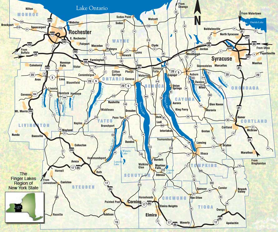 Finger Lakes Ny Map Regional Facts   Life in the Finger Lakes Finger Lakes Ny Map