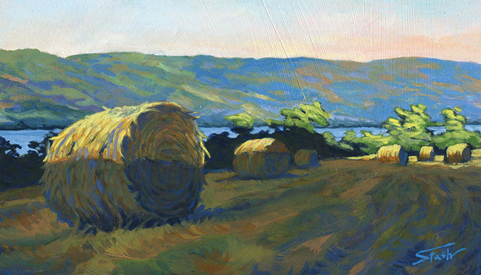 """Fading Sun Hay Bales in the Finger Lakes,"" acrylic painting by Mark Stash.  Private collection"
