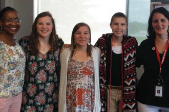 Pictured, from left to right: Debra Dunn, Red Cross; Allie Wagner, Courtney's 17 year old sister; Alex Wagner, Courtney's 17 year old sister; Courtney Wagner, Canandaigua Academy Senior; Cara Leyna Noble, Red Cross