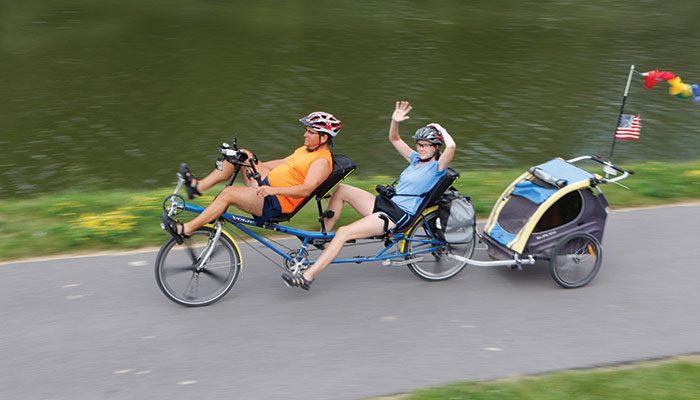 A couple on a tandem bike join more than 500 bicyclists who make the annual 400-mile Erie Canal bike tour from Buffalo to Albany.