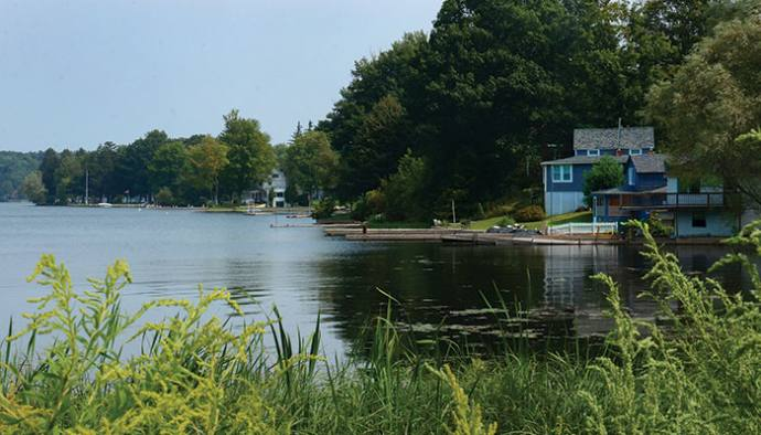 Village view along Little Sodus Bay.